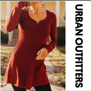 UO Spellbound Sweater Mini Dress In Maroon